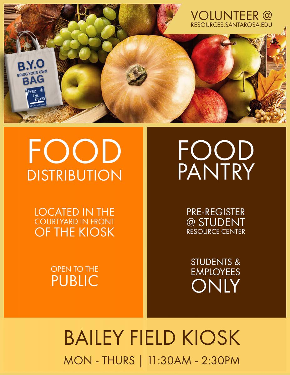 Santa Rosa Campus, Food Distribution, Bailey Field Kiosk, etcetera.