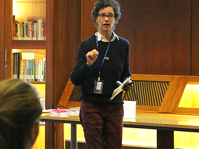 College Nurse Practitioner, Cindy Dickinson, speaking at a workshop