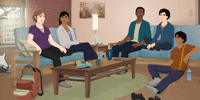 Group of men and women sitting in living room